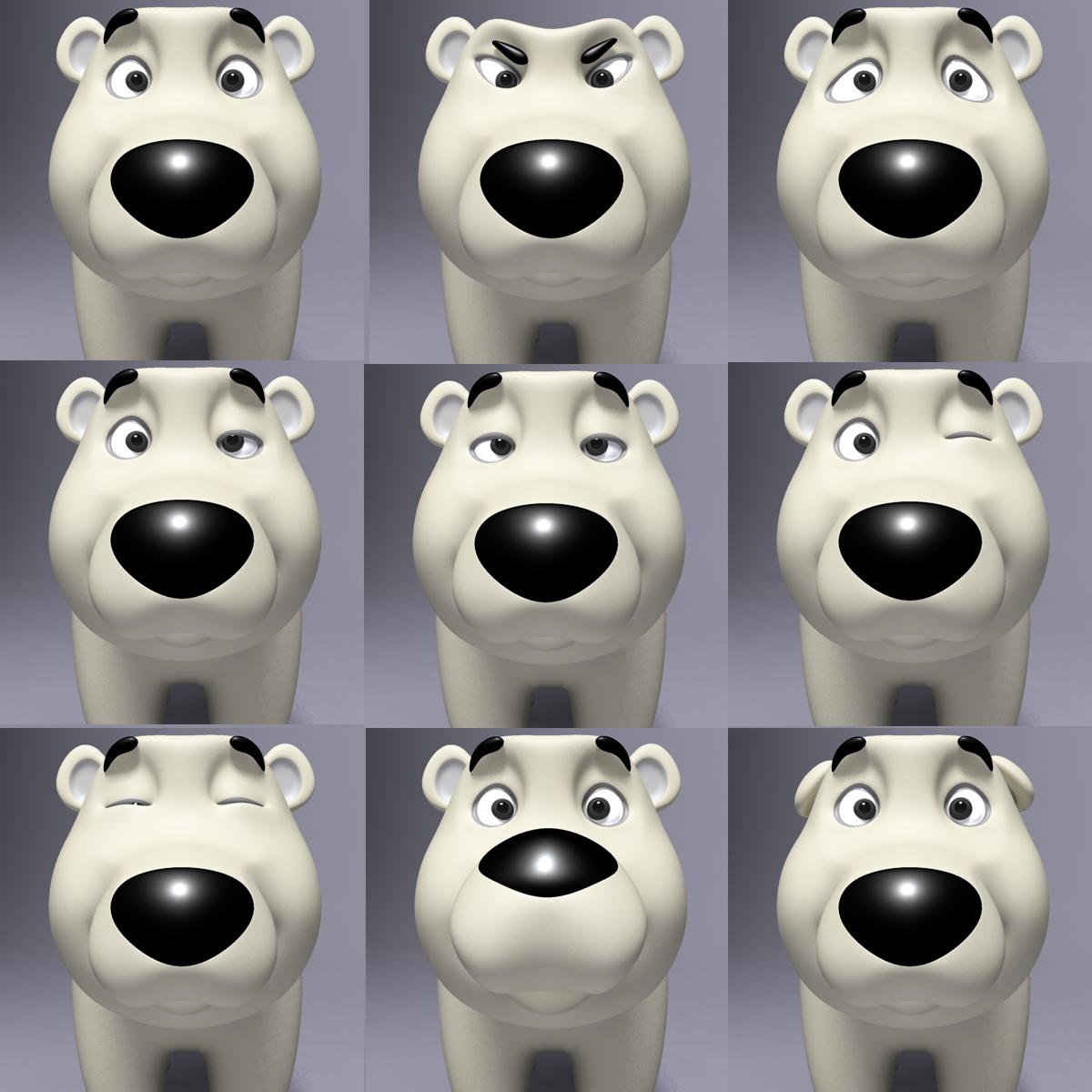 cartoon polar bear rigged 3d model max  fbx 3dm  220656