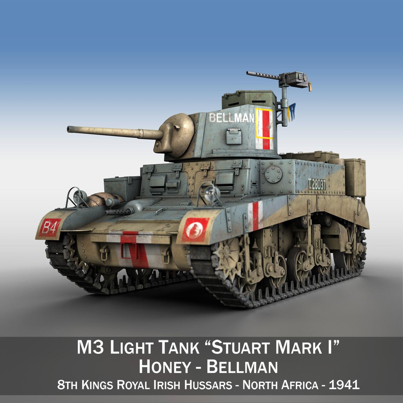m3 light tank honey – bellman 3d model 3ds fbx c4d lwo obj 220712