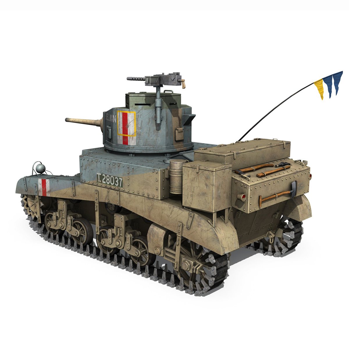 m3 light tank honey – bellman 3d model 3ds fbx c4d lwo obj 220714