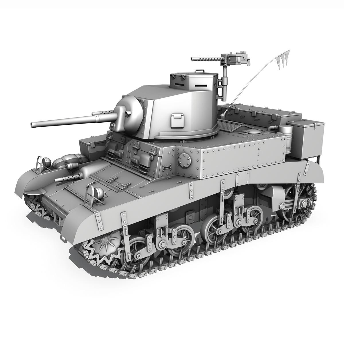 m3 light tank honey – bellman 3d model 3ds fbx c4d lwo obj 220720