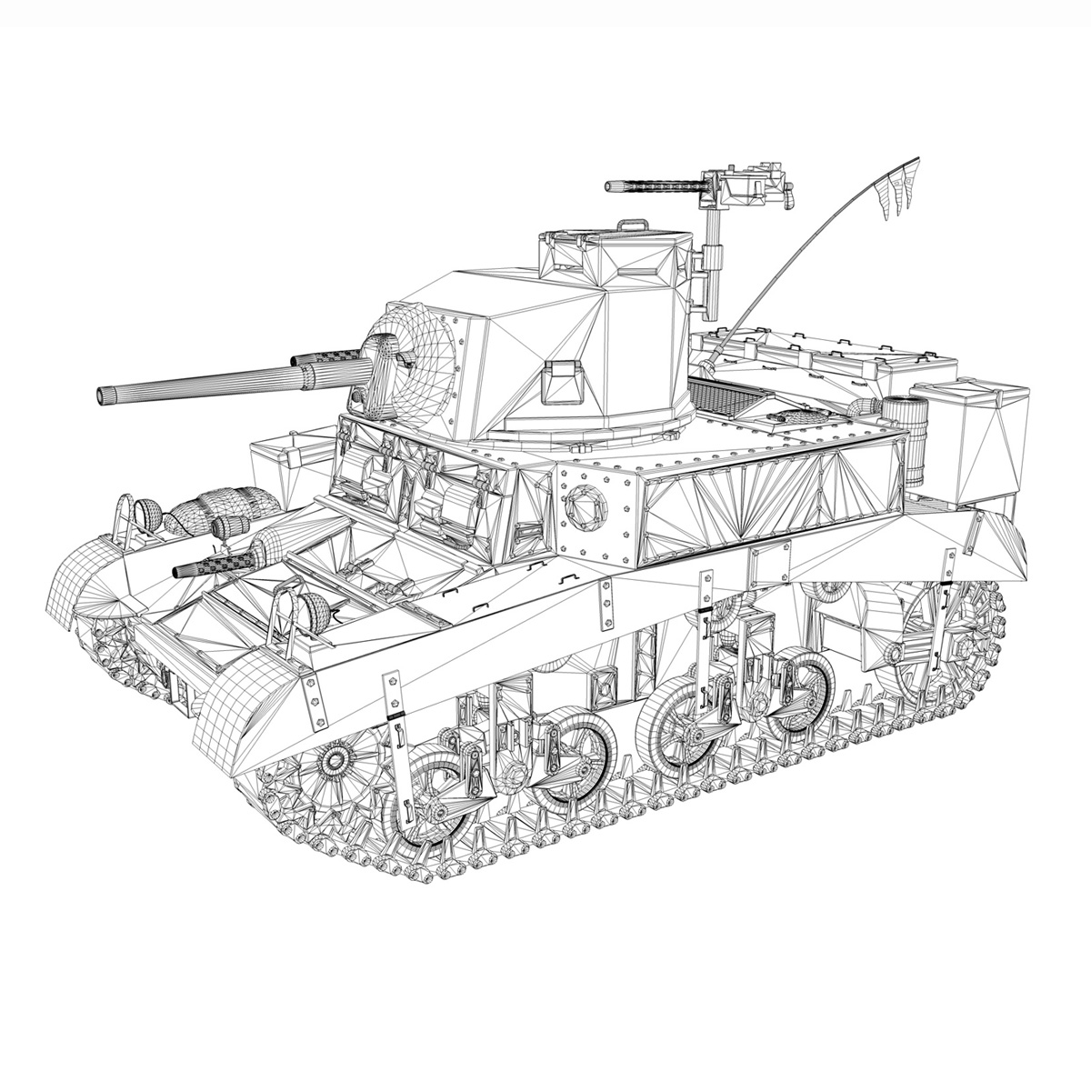 m3 light tank honey – bellman 3d model 3ds fbx c4d lwo obj 220721