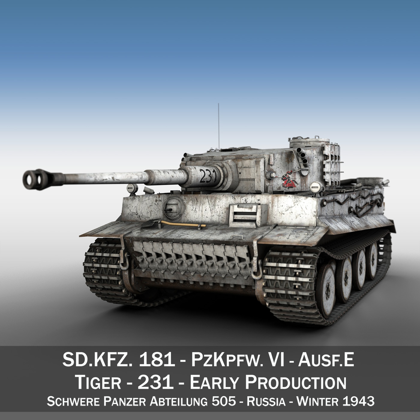 panzer vi – tiger – 231 – early production 3d model 3ds fbx c4d lwo obj 220723