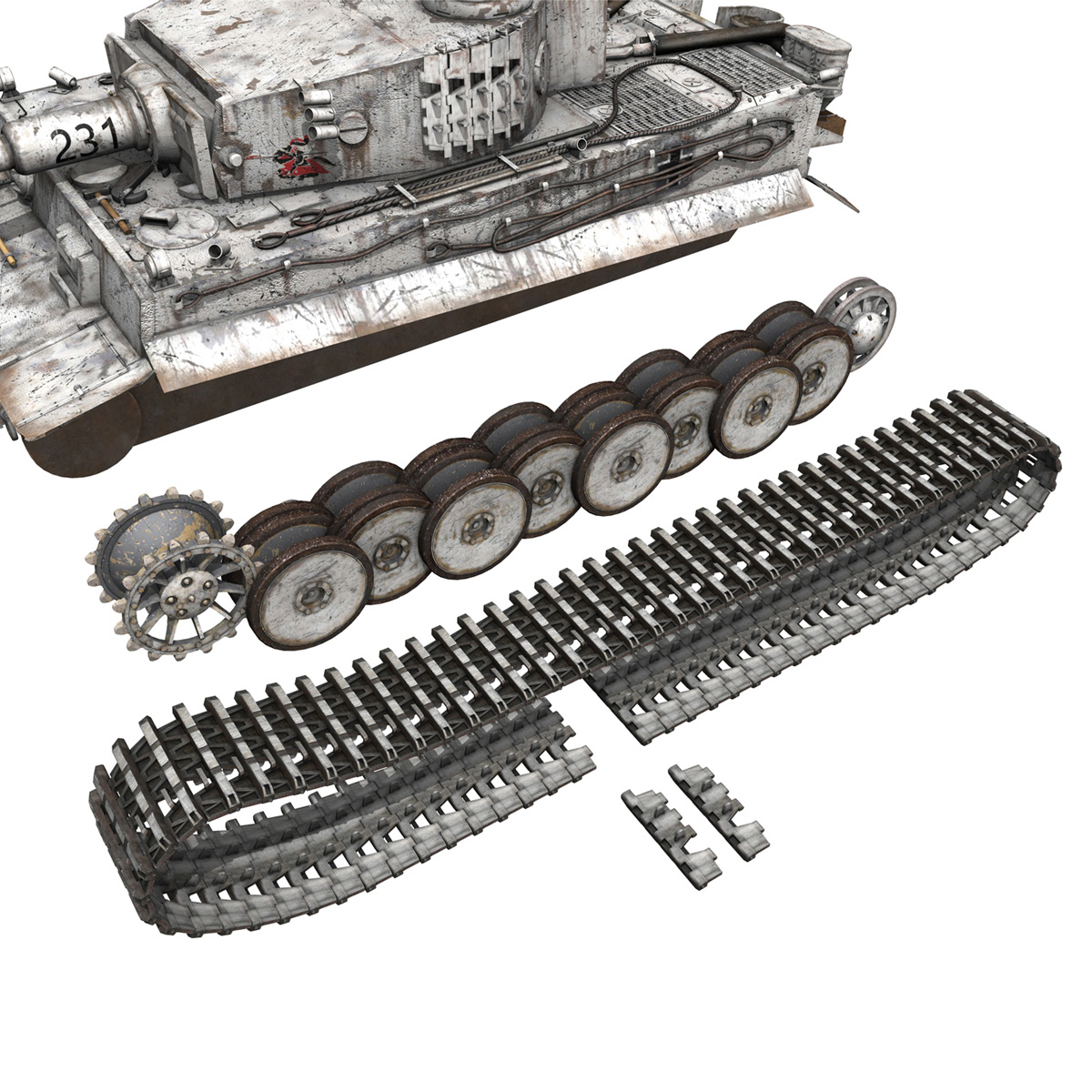 panzer vi – tiger – 231 – early production 3d model 3ds fbx c4d lwo obj 220731