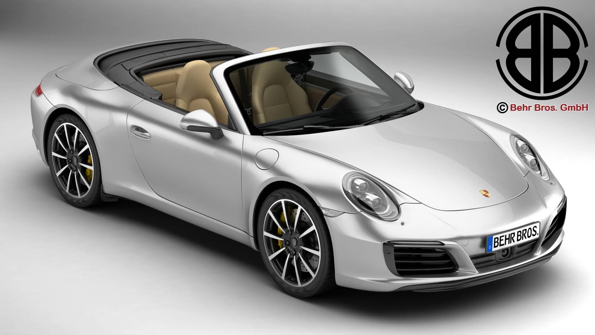 porsche 911 carrera cabriolet 2017 3d model buy porsche. Black Bedroom Furniture Sets. Home Design Ideas