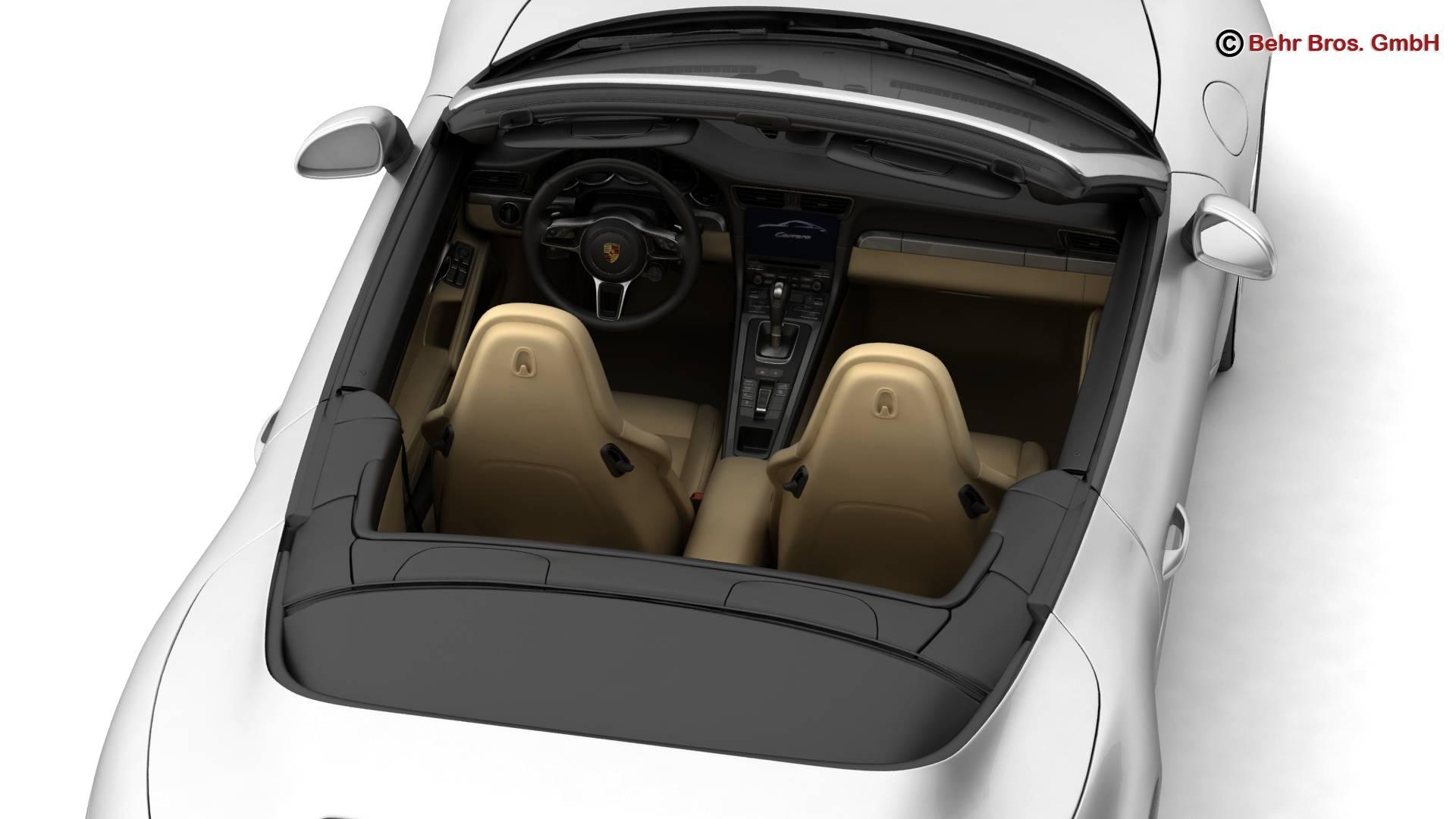 porsche 911 carrera cabriolet 2017 3d model 3ds max fbx c4d lwo ma mb obj 220801