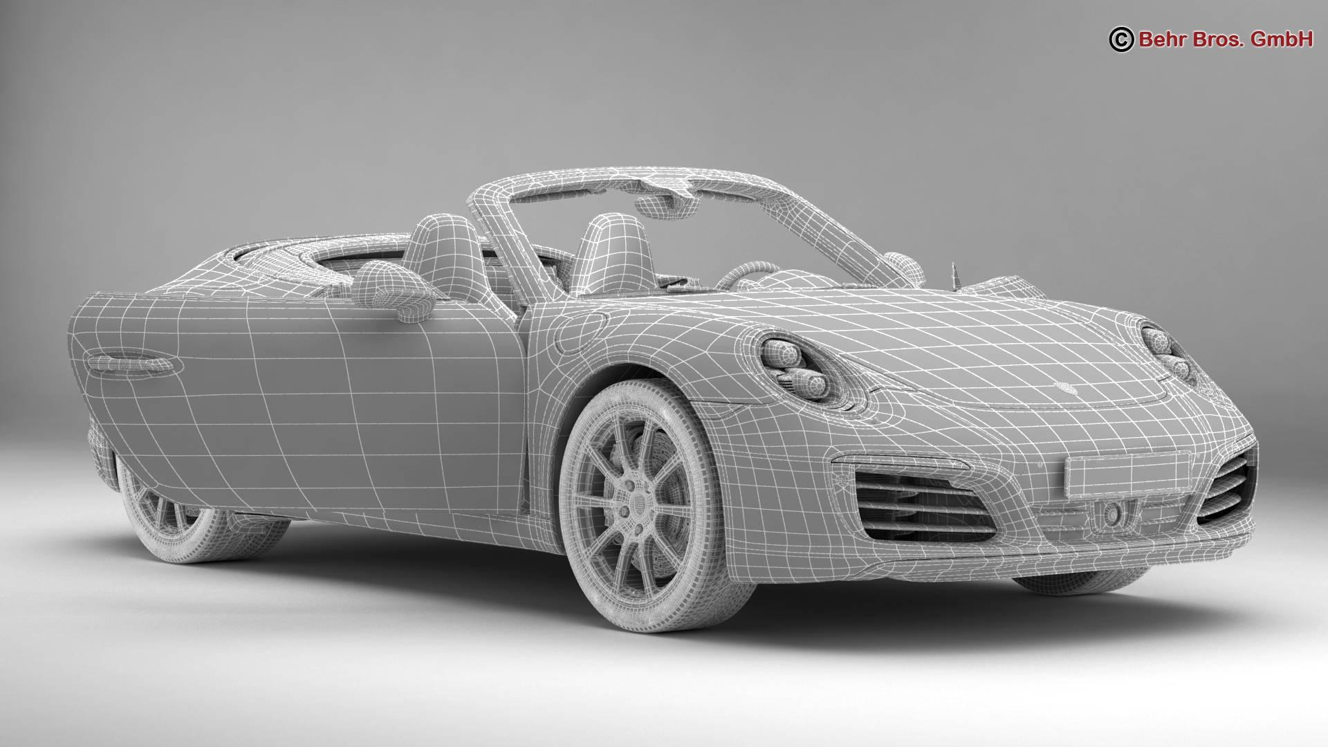 porsche 911 carrera cabriolet 2017 3d model 3ds max fbx c4d lwo ma mb obj 220807