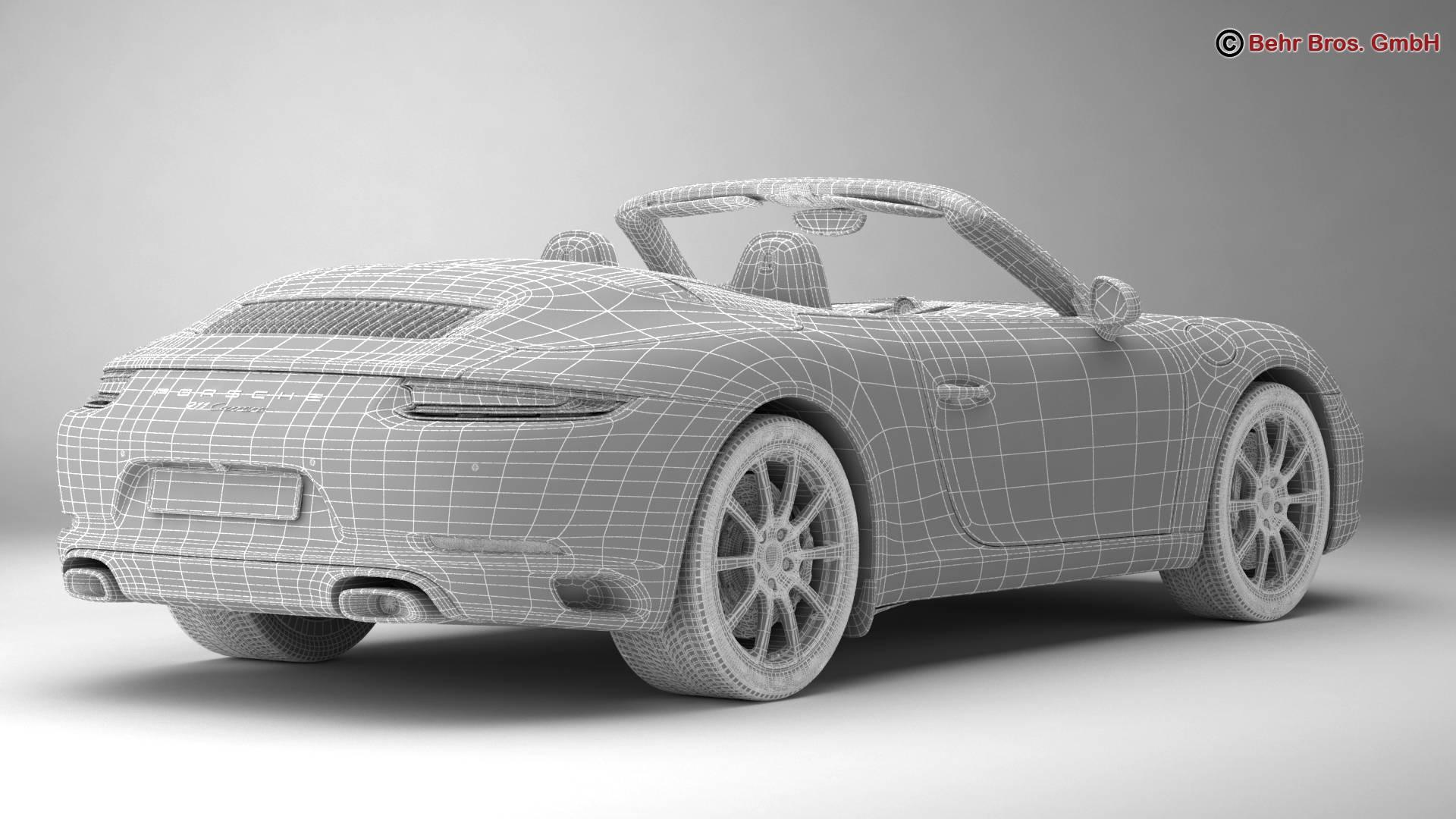 porsche 911 carrera cabriolet 2017 3d model 3ds max fbx c4d lwo ma mb obj 220808