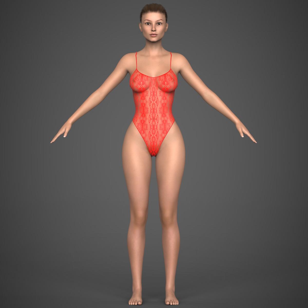 realistic young girl 3d model max fbx c4d ma mb texture obj 220927