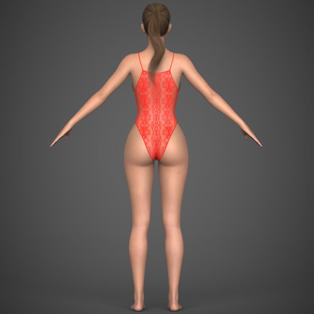 realistic young girl 3d model max fbx c4d ma mb texture obj 220931