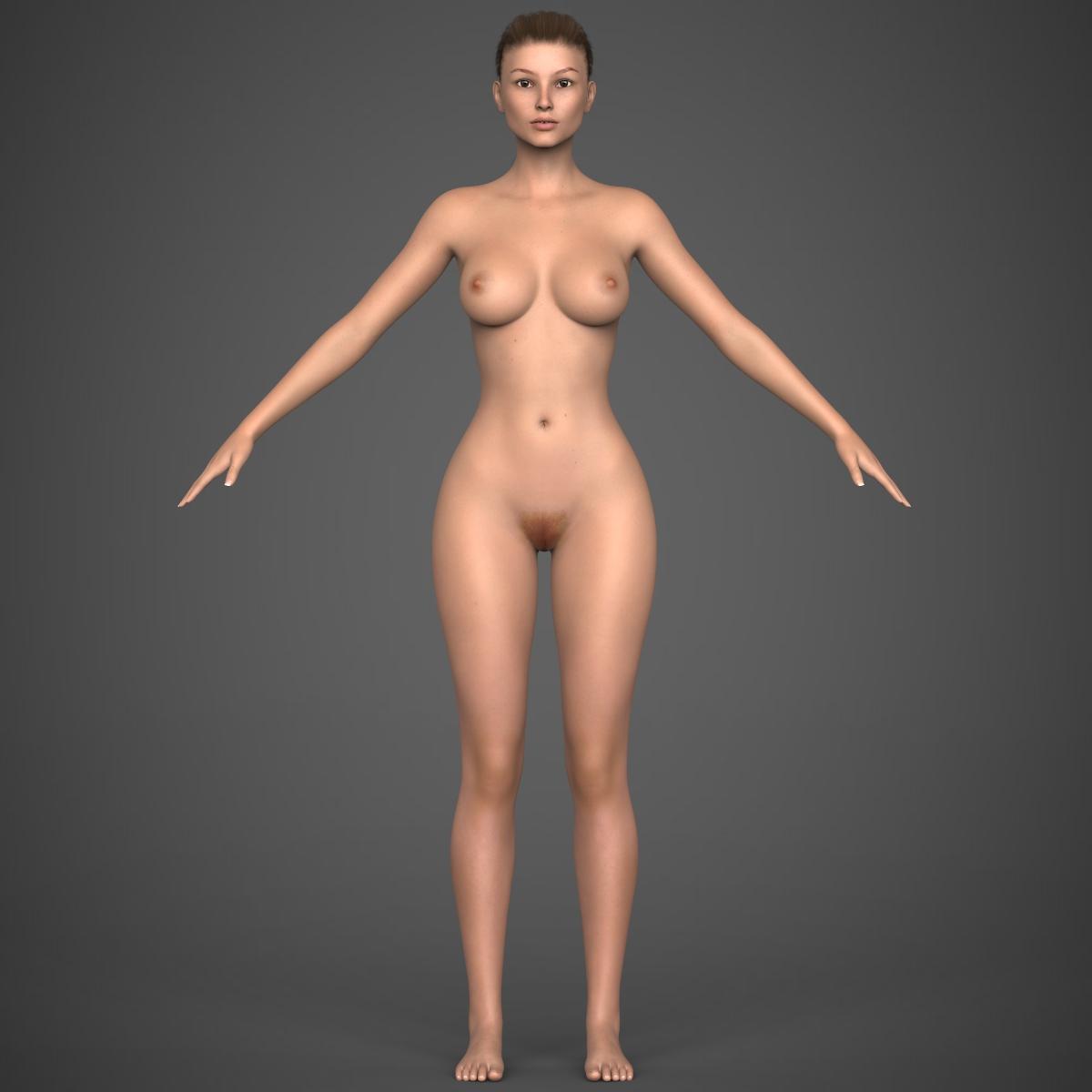 realistic young girl 3d model max fbx c4d ma mb texture obj 220934