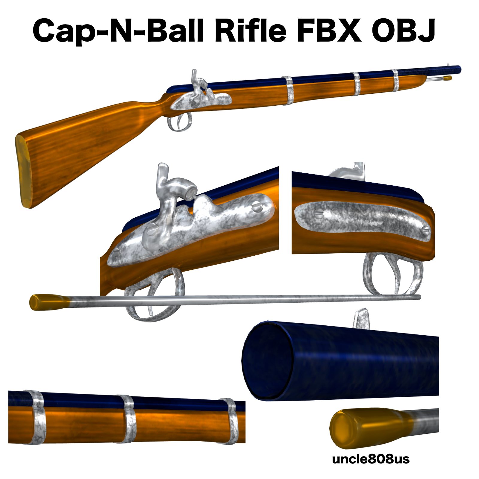 cap-n-ball rifle fbx obj 3d model fbx 220981