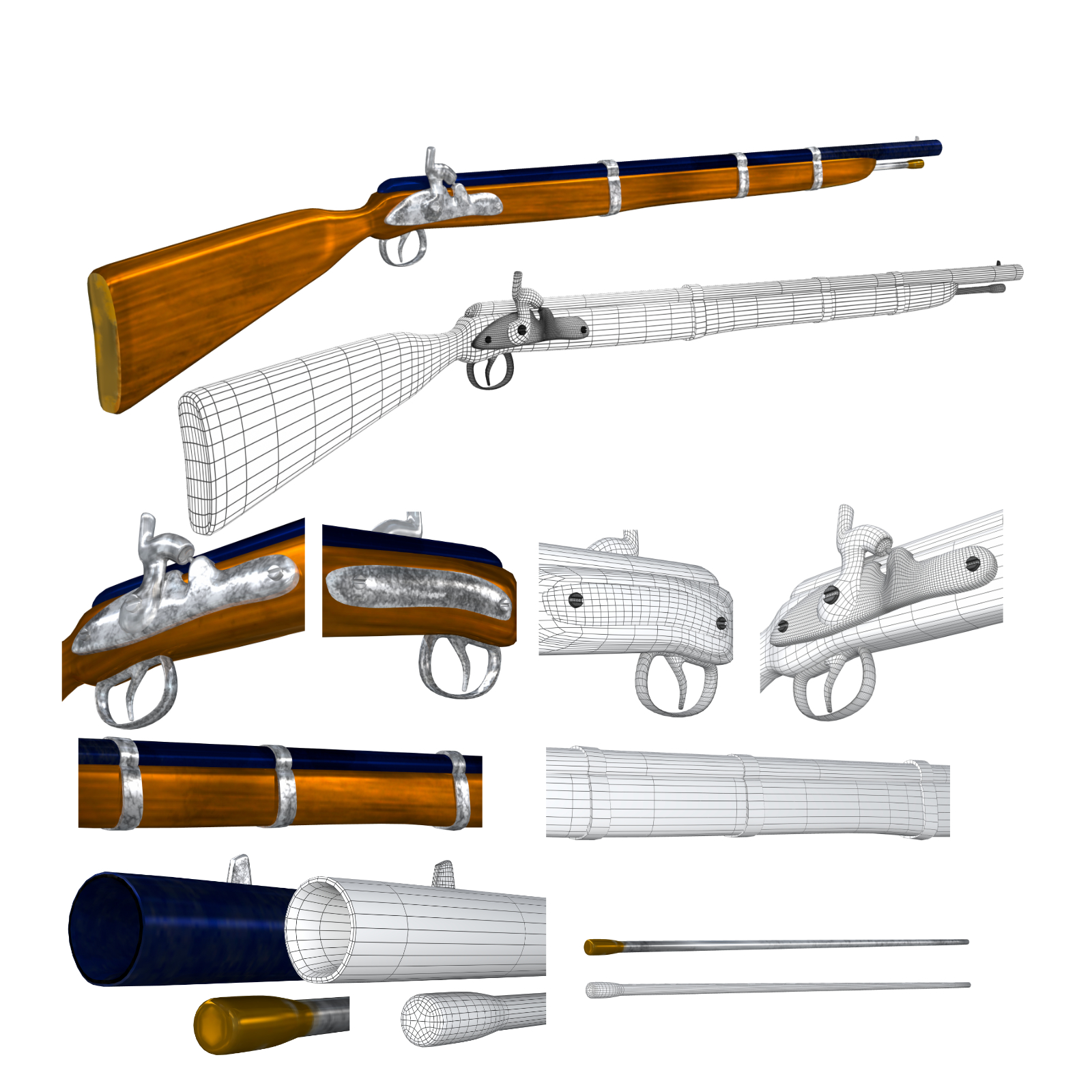 cap-n-ball rifle fbx obj 3d model fbx 220984