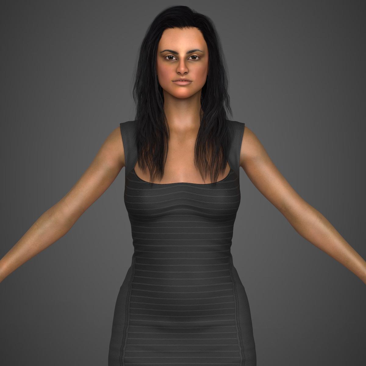young sexy woman 3d model max fbx c4d ma mb texture obj 221213