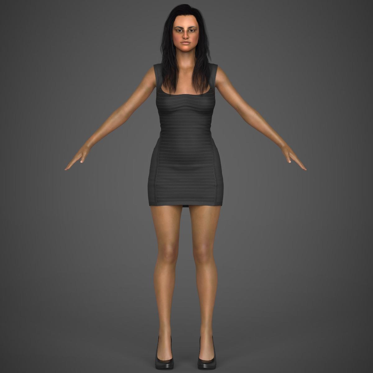 young sexy woman 3d model max fbx c4d ma mb texture obj 221217