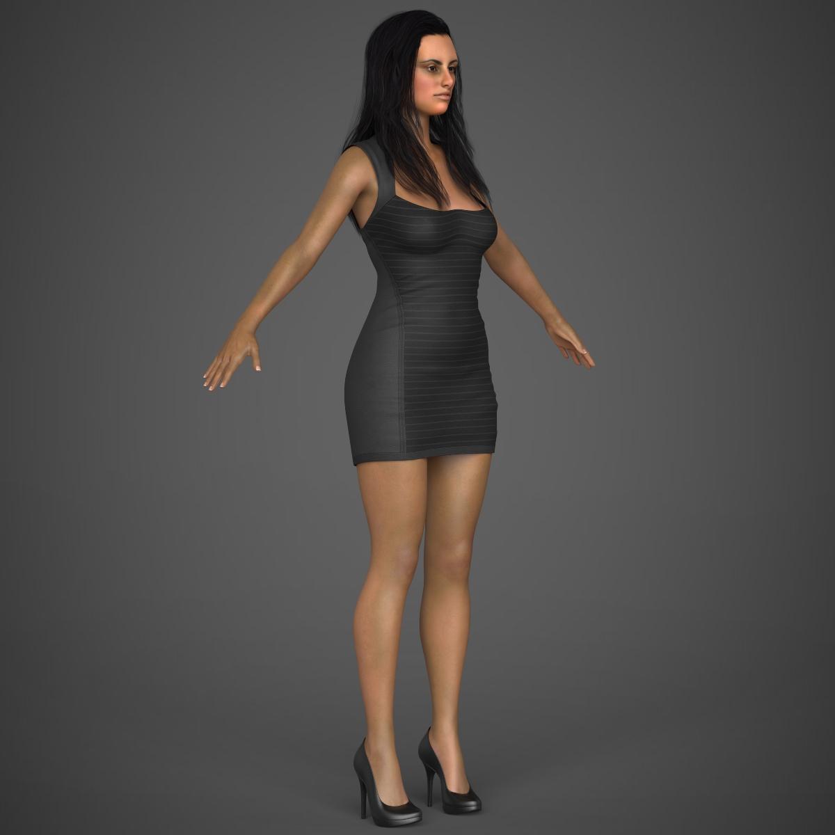 young sexy woman 3d model max fbx c4d ma mb texture obj 221222