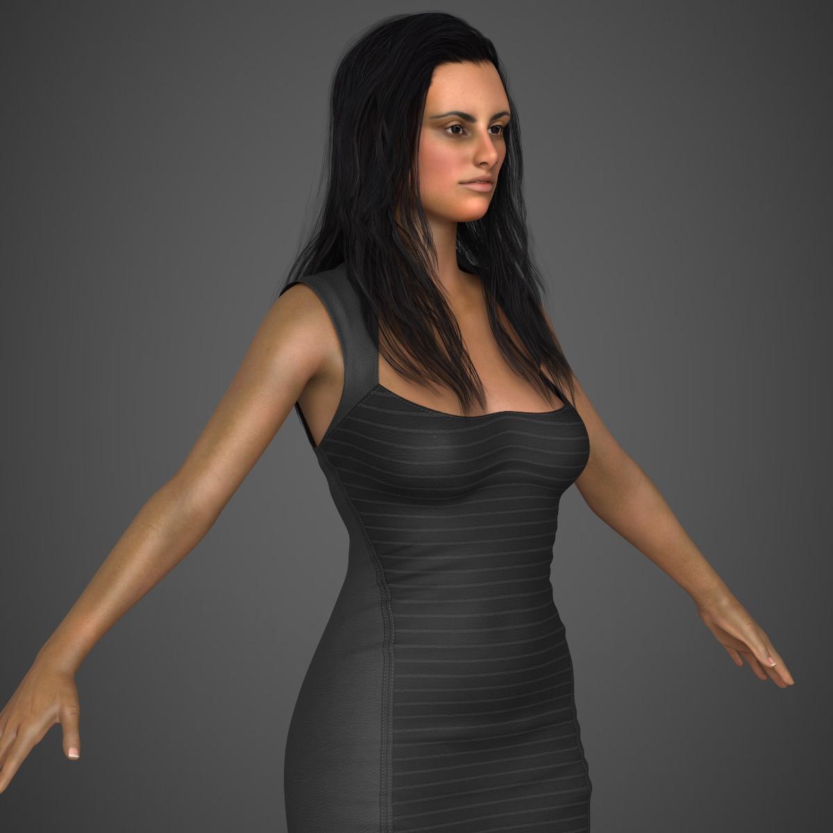 young sexy woman 3d model max fbx c4d ma mb texture obj 221223