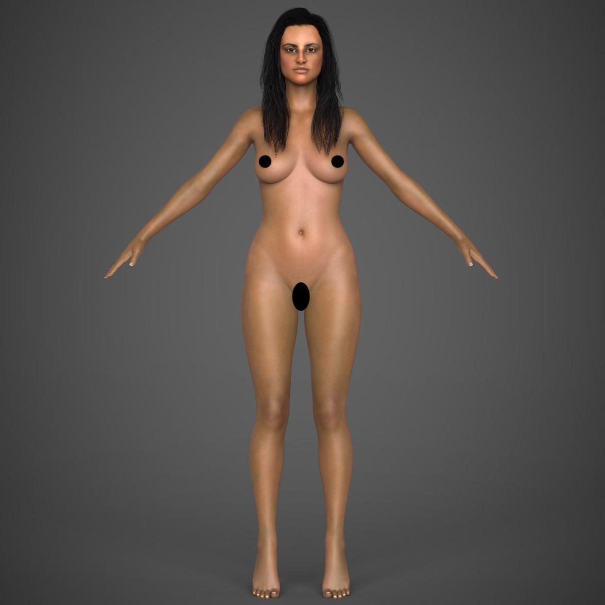 young sexy woman 3d model max fbx c4d ma mb texture obj 221224