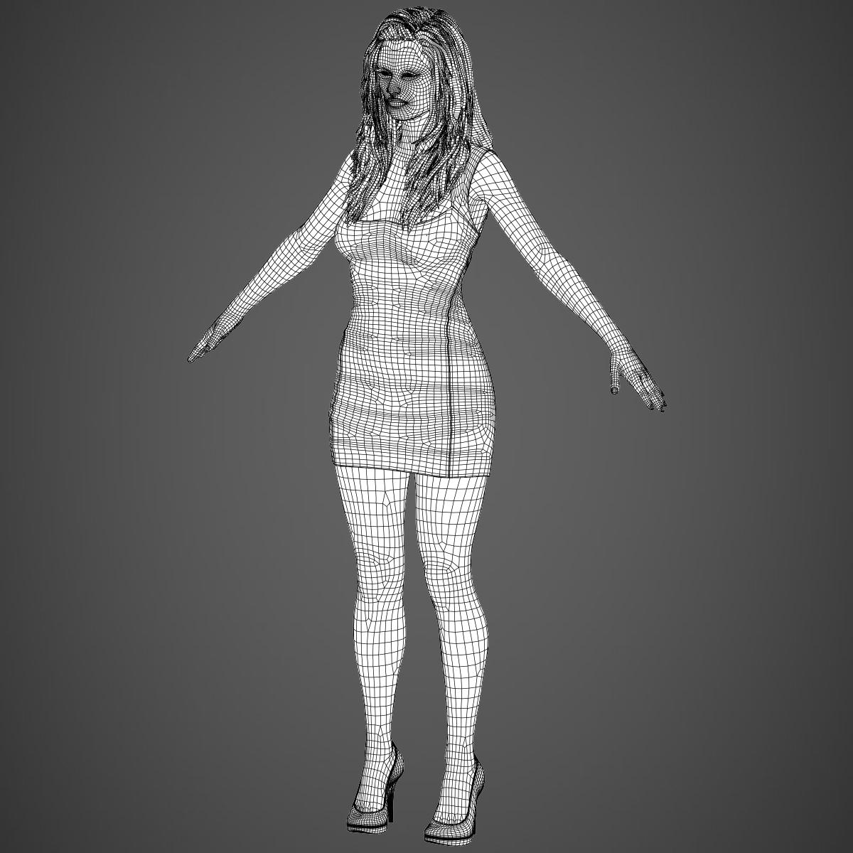young sexy woman 3d model max fbx c4d ma mb texture obj 221227