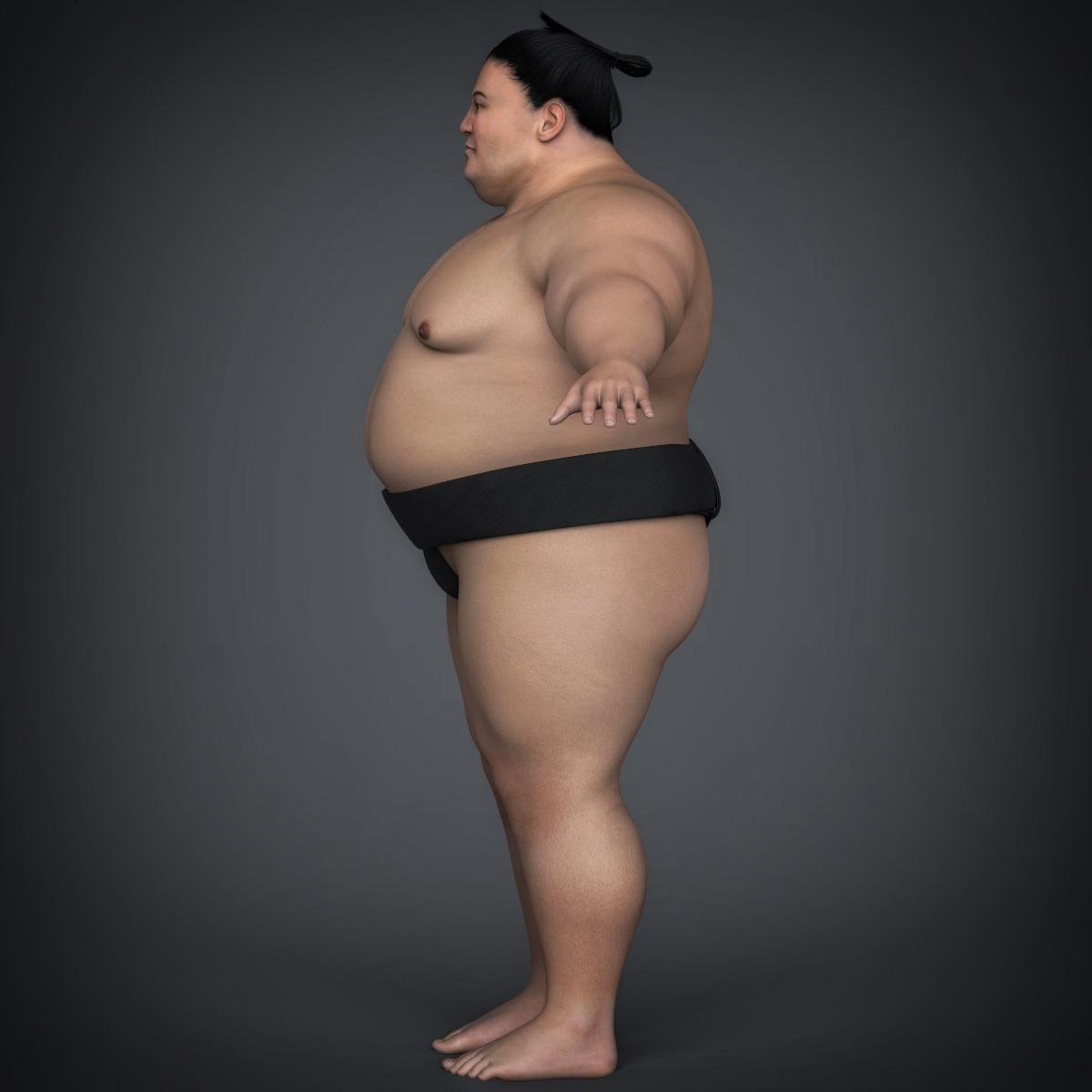 realistic japanese sumo 3d model max fbx c4d ma mb texture obj 221768