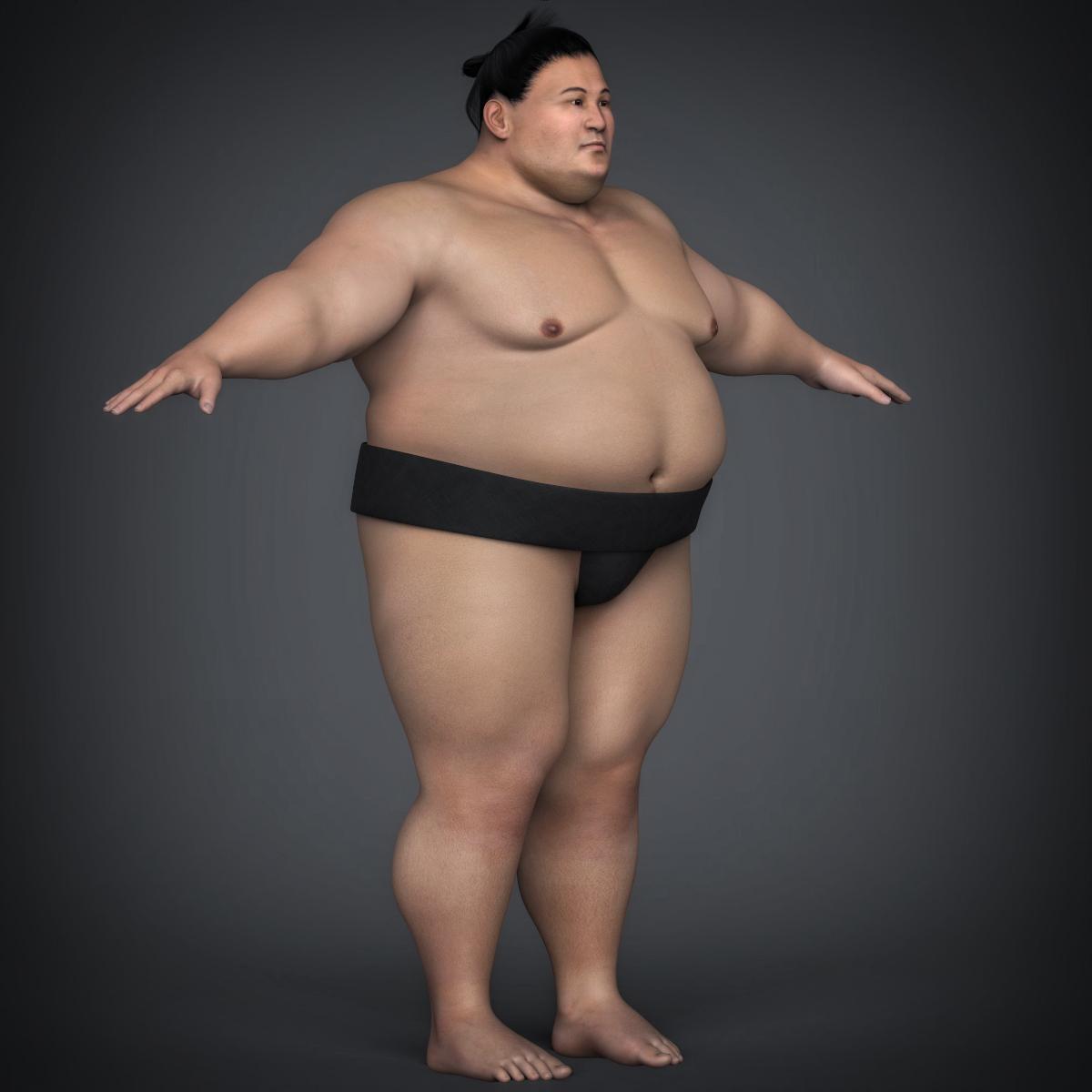 realistic japanese sumo 3d model max fbx c4d ma mb texture obj 221772