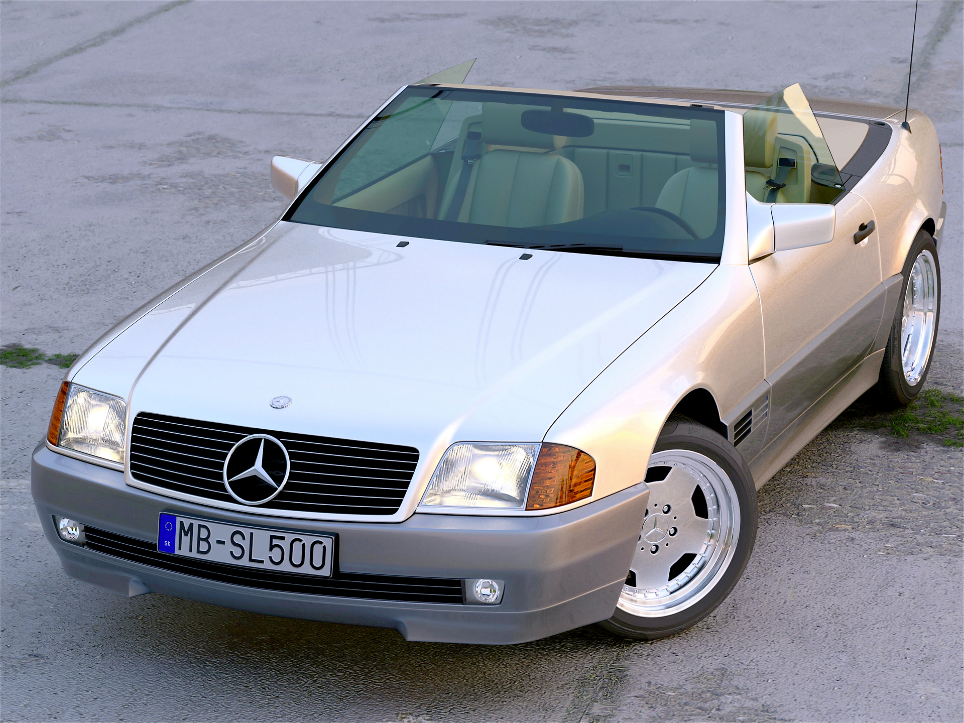 mercedes benz sl 1995 3d model 3ds max fbx c4d obj 221786