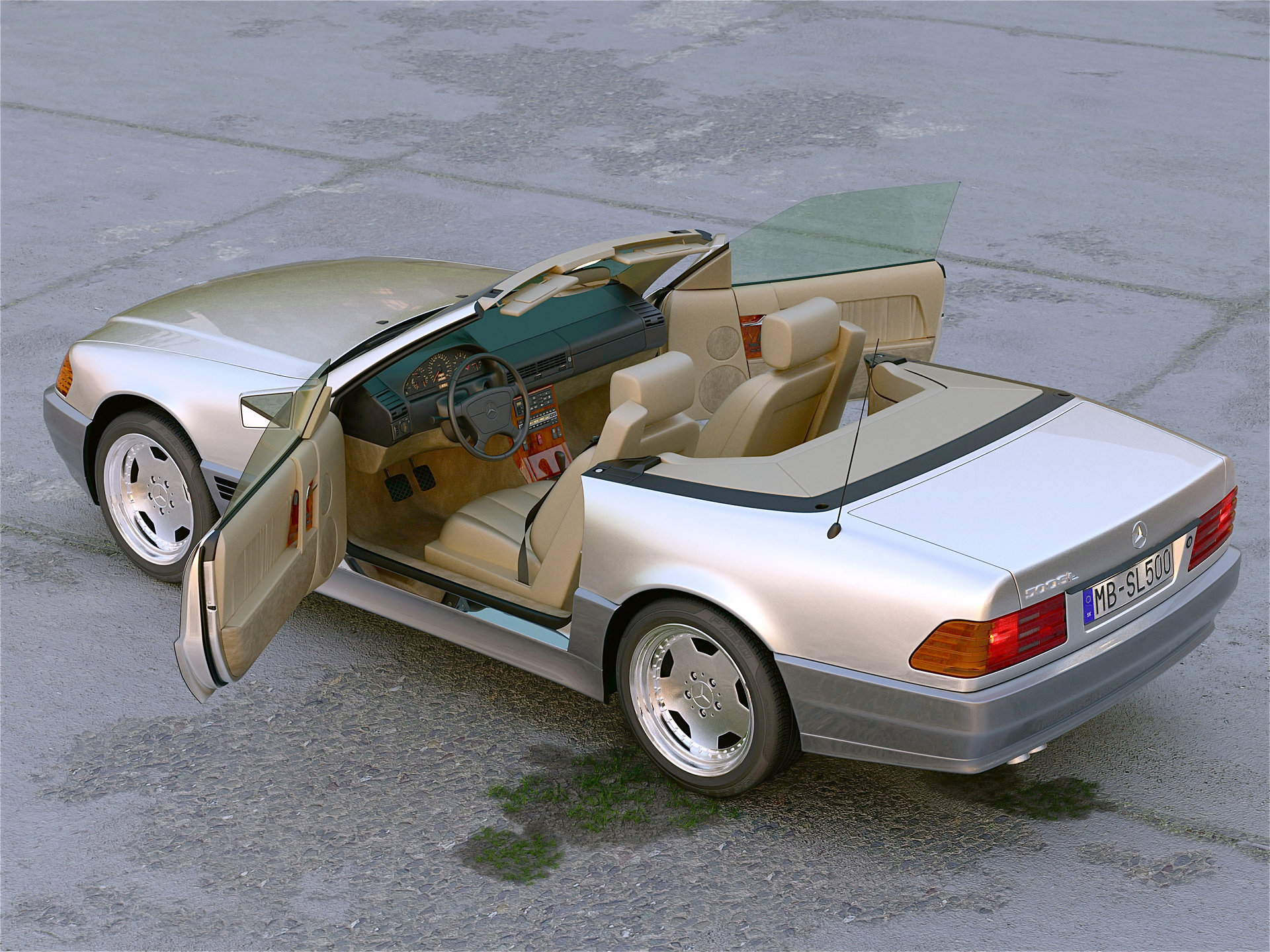 mercedes benz sl 1995 3d model buy mercedes benz sl 1995. Black Bedroom Furniture Sets. Home Design Ideas
