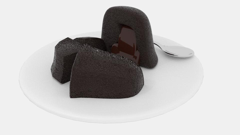 izkausēta šokolādes kūka 3d modelis maisījums 221930