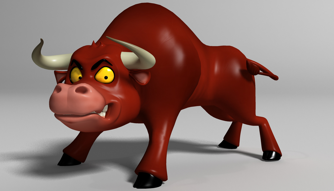 cartoon bull rigged 3d model 3ds max fbx obj 221986