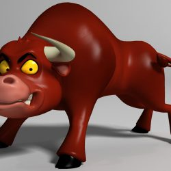 cartoon bull Rigged 3d model 0