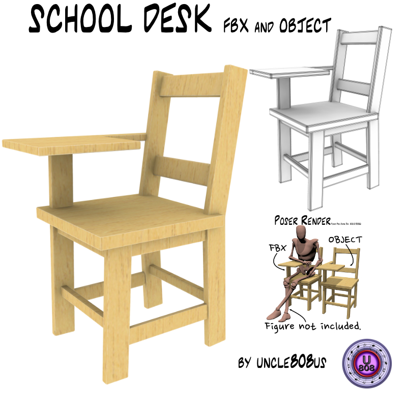 school desk fbx_obj 3d model fbx 222473