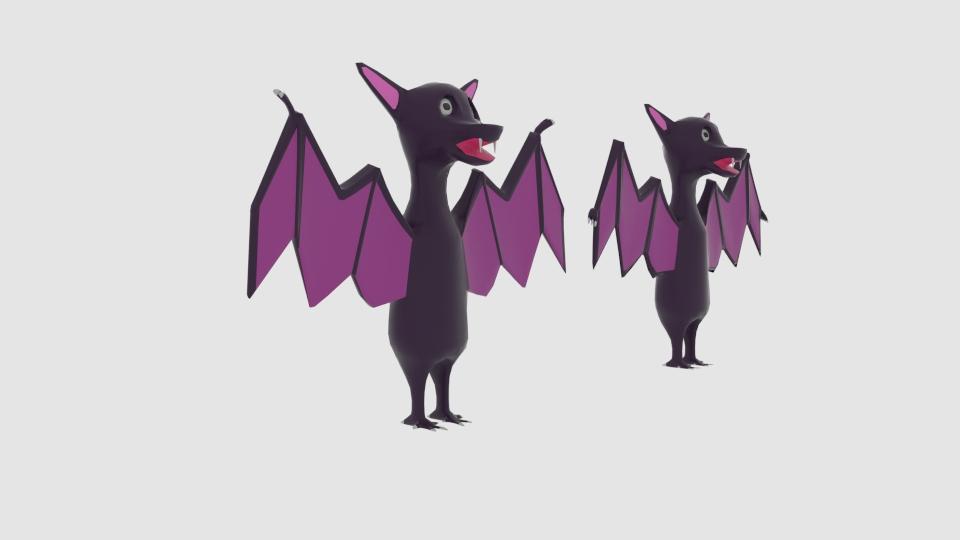 cartoon bat 3d model blend 222919