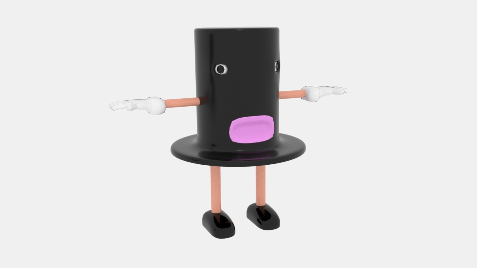 kreskówka top hat 3d model mix 222939