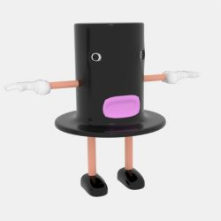 Cartoon Top Hat Character 3d model 0