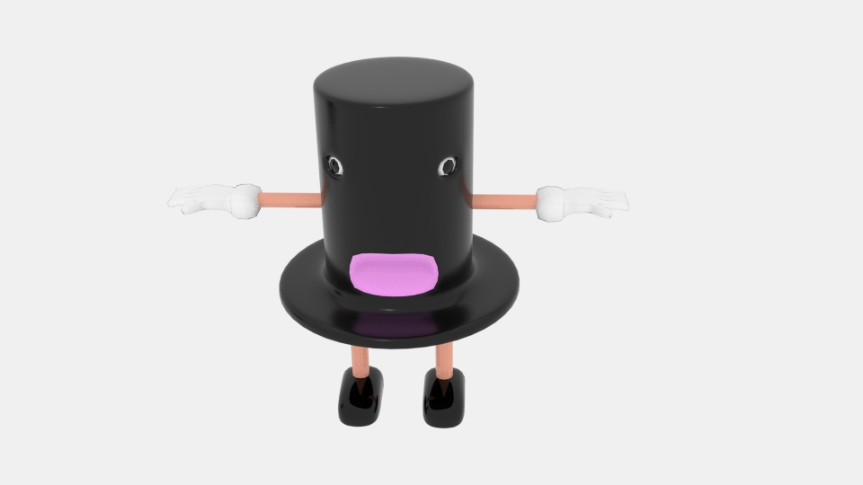 cartoon top hat character 3d model blend 222940