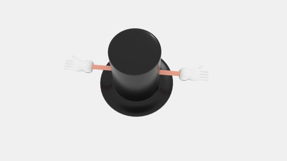 cartoon top hat character 3d model blend 222941