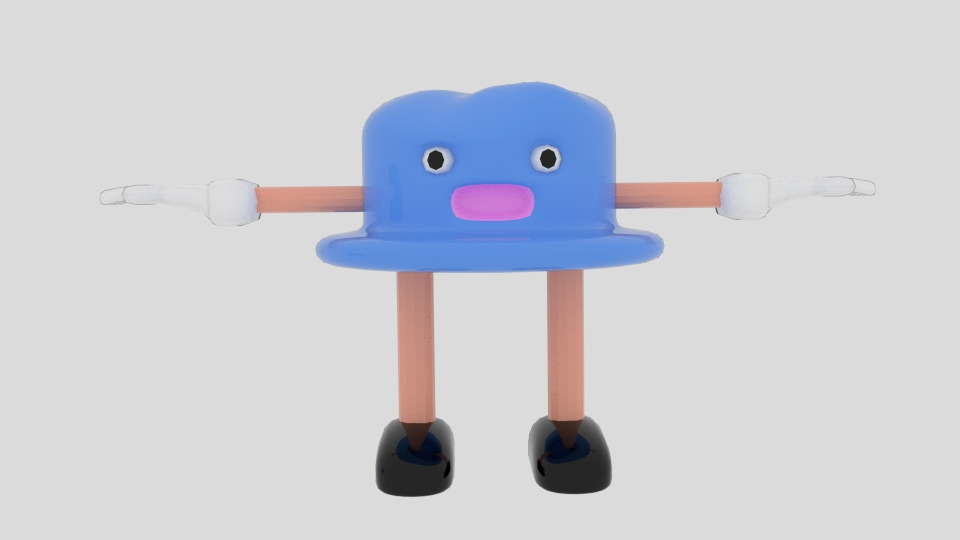 teiknimynd hattur karakter 3d líkan blanda 222946