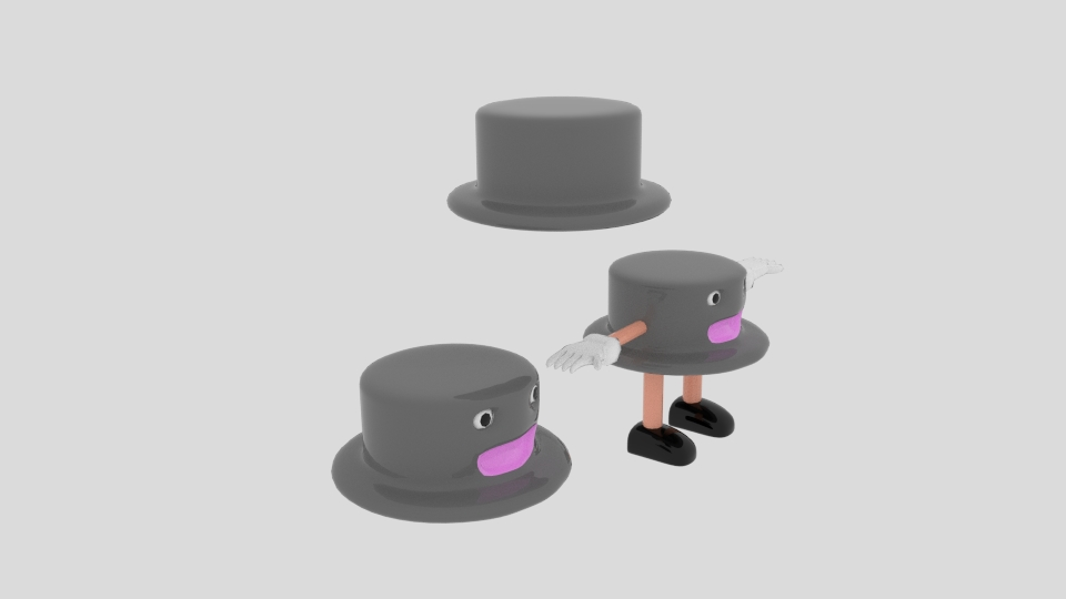 cartoon round hat character 3d model blend 222961
