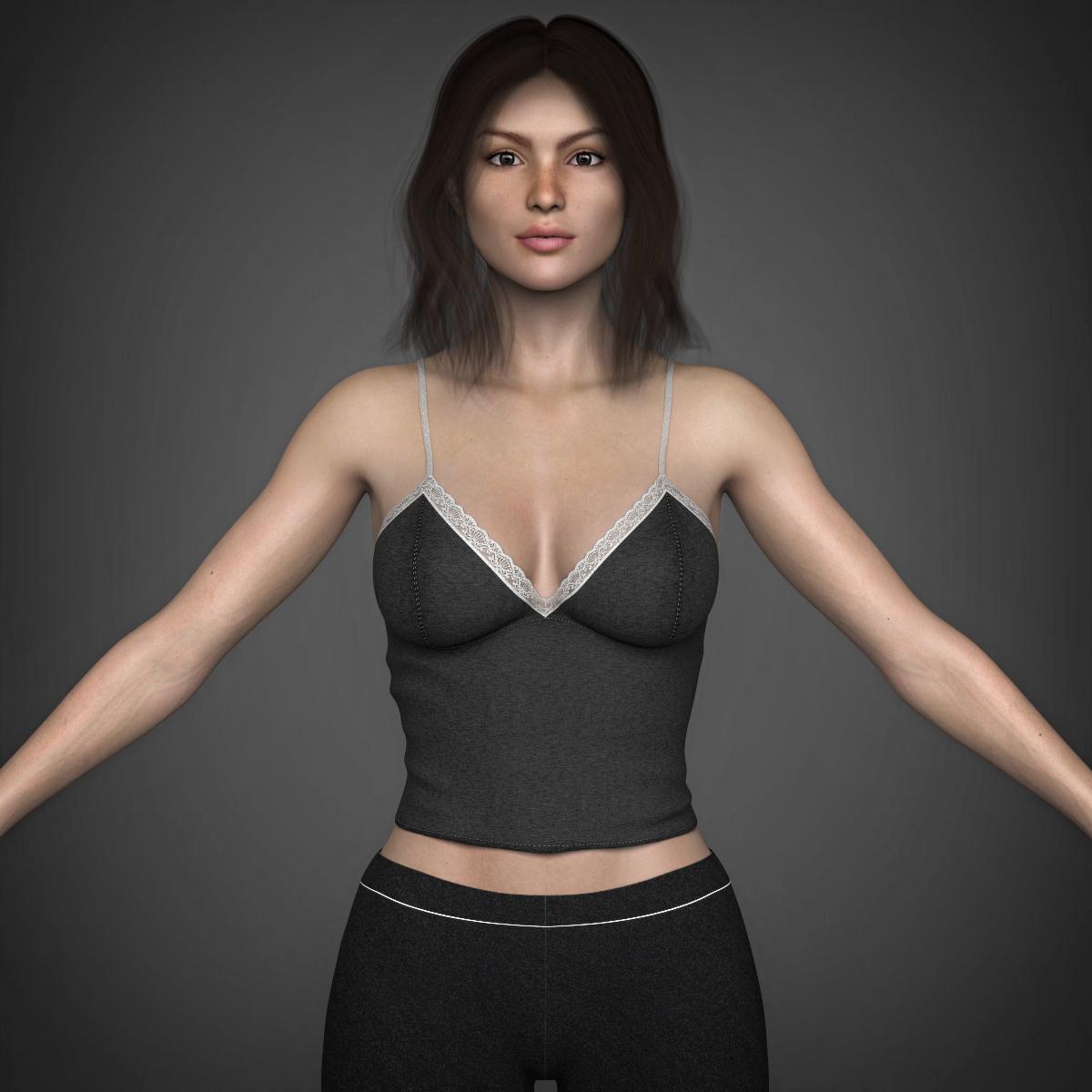 young beautiful woman 3d model max fbx c4d ma mb texture obj 223024