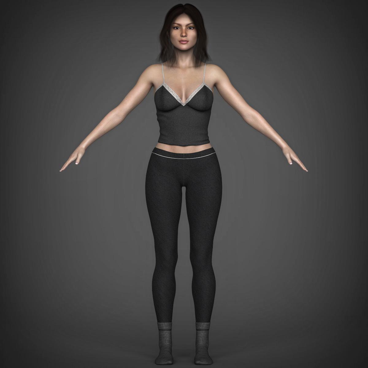 young beautiful woman 3d model max fbx c4d ma mb texture obj 223028