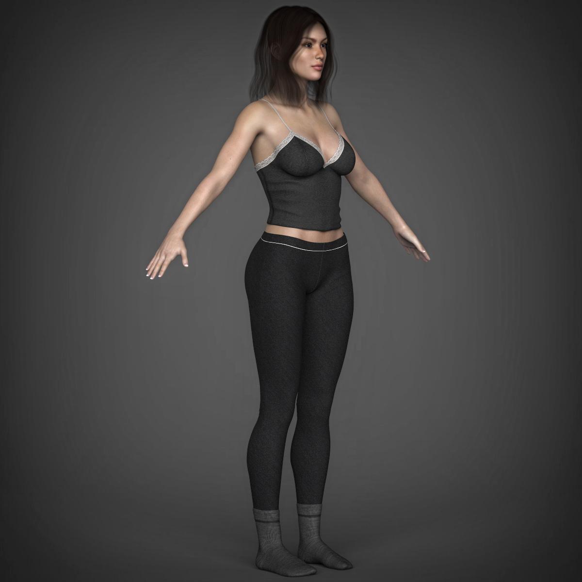 young beautiful woman 3d model max fbx c4d ma mb texture obj 223033