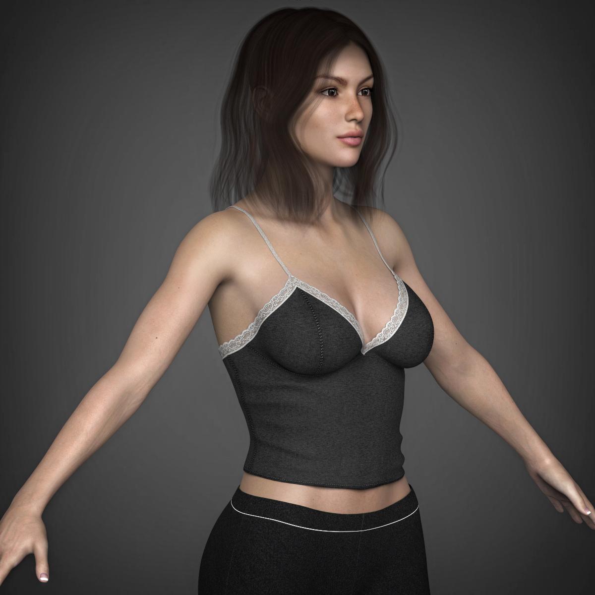 young beautiful woman 3d model max fbx c4d ma mb texture obj 223034