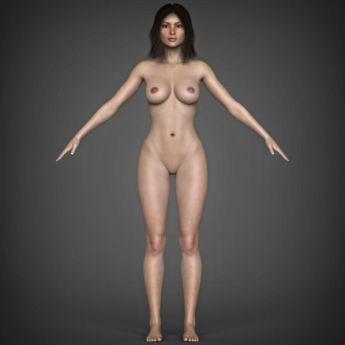 young beautiful woman 3d model max fbx c4d ma mb texture obj 223035