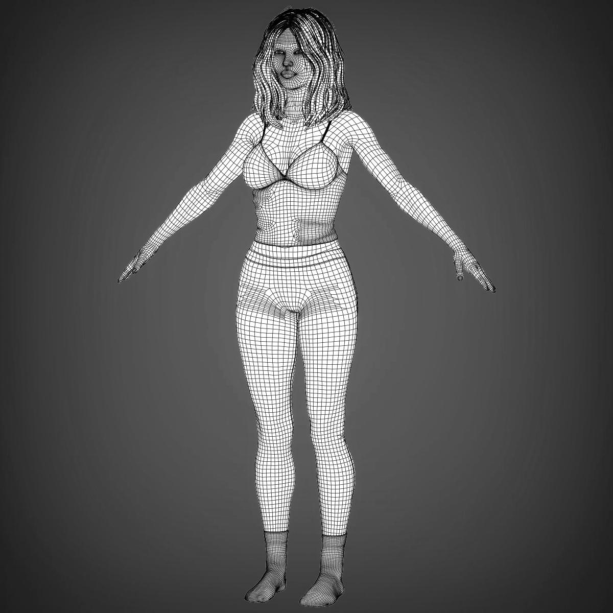 young beautiful woman 3d model max fbx c4d ma mb texture obj 223039
