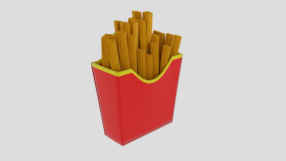 french fries cup 3d model blend 223276
