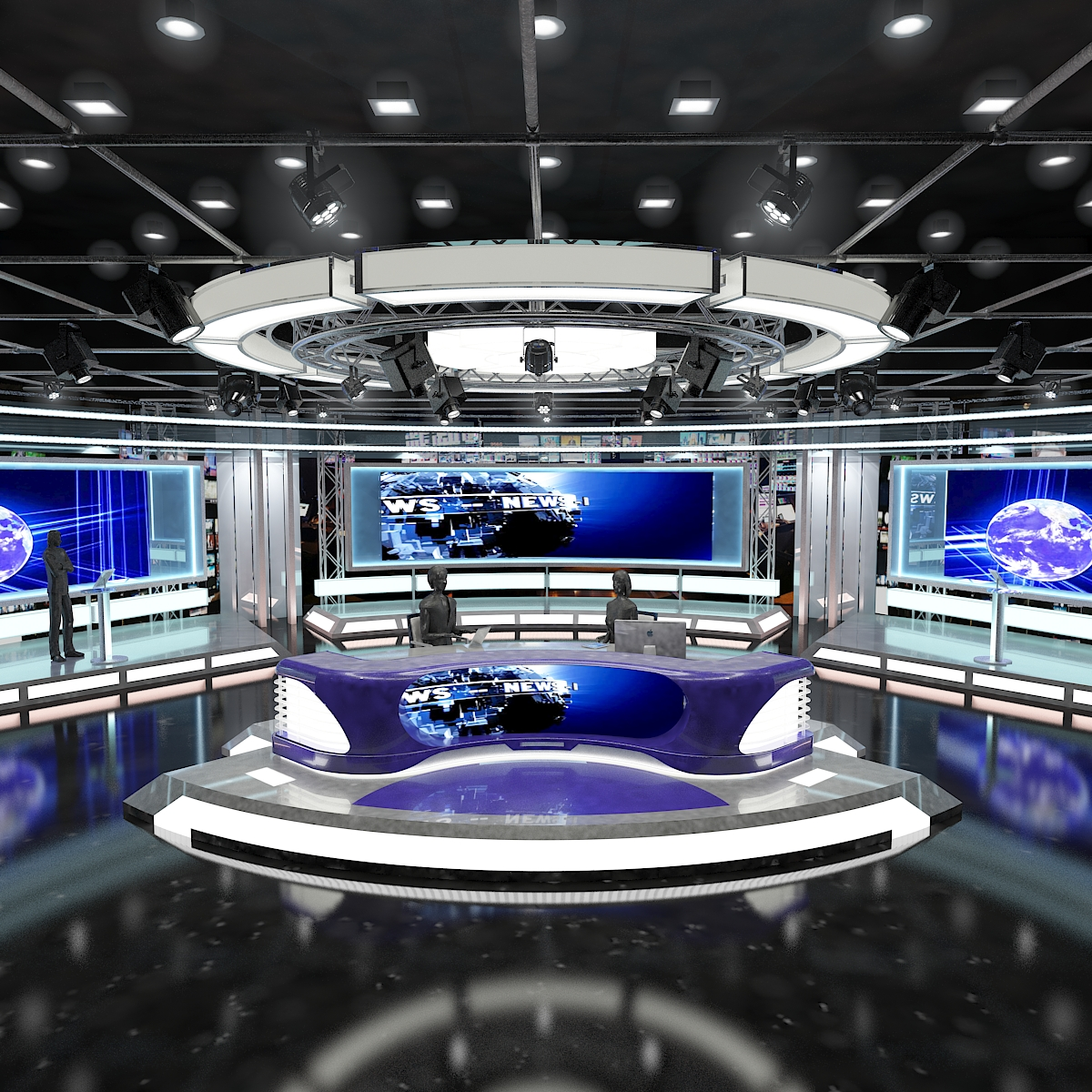 virtual tv studio news set 1 3d model max dxf fbx c4d obj 223284