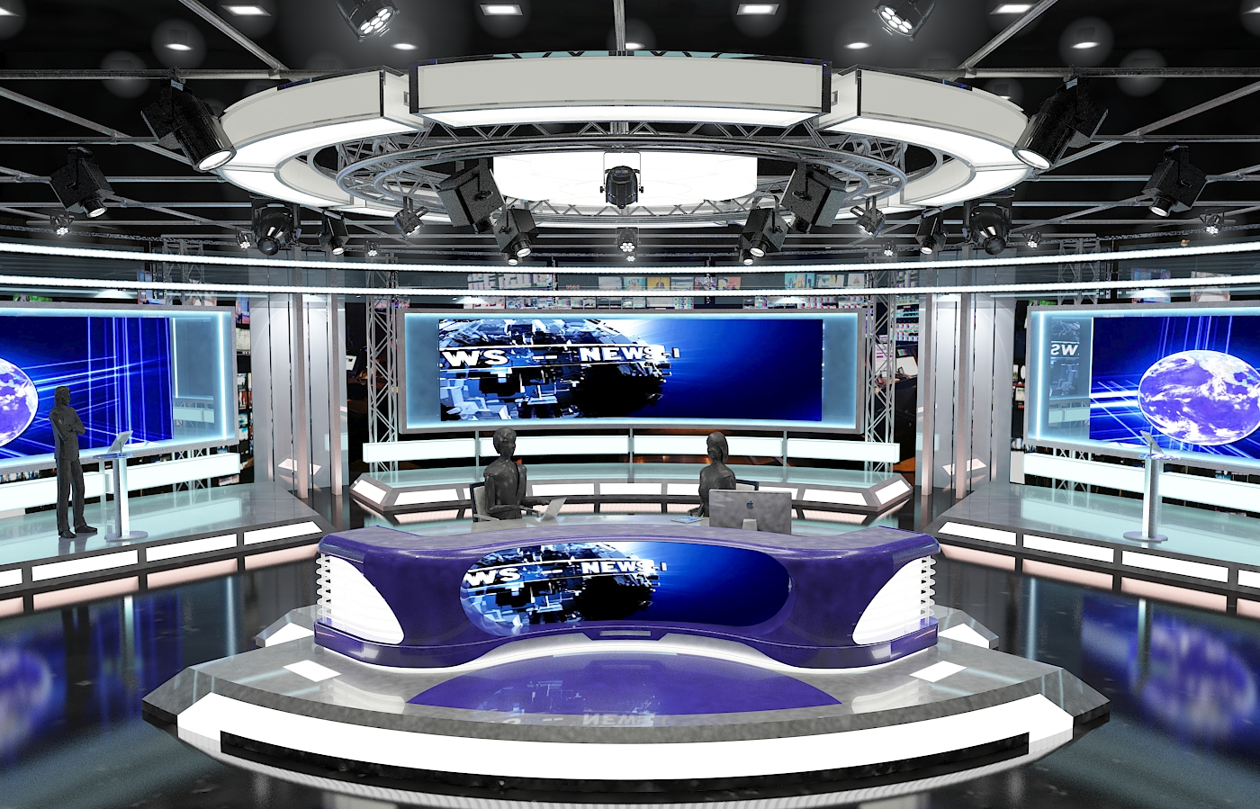 Virtual Tv Studio News Set 1 3d Model Buy Virtual Tv