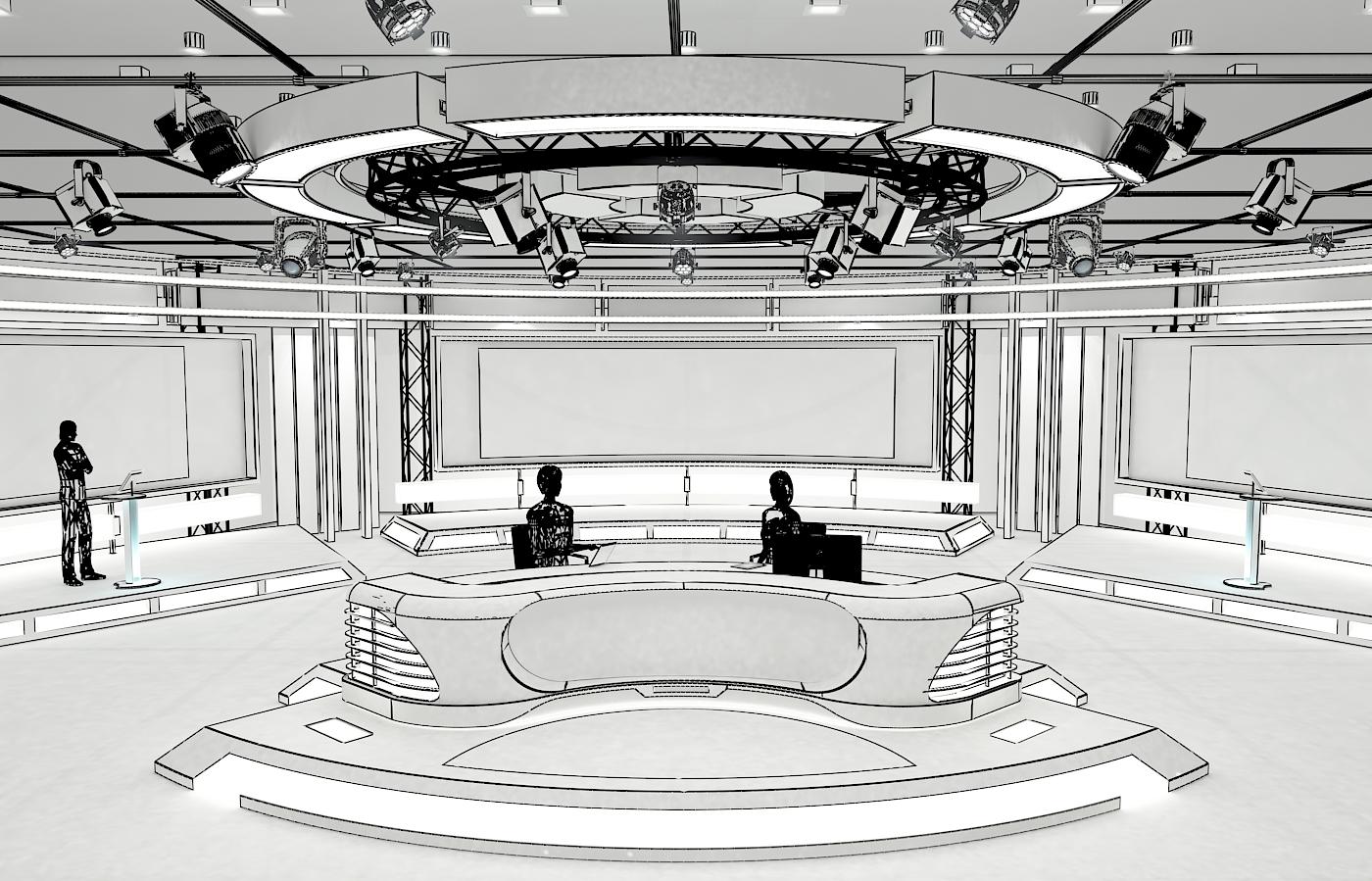 виртуал телевизийн студи мэдээ багц 1 3d загвар max dxf fbx c4d obj 223286