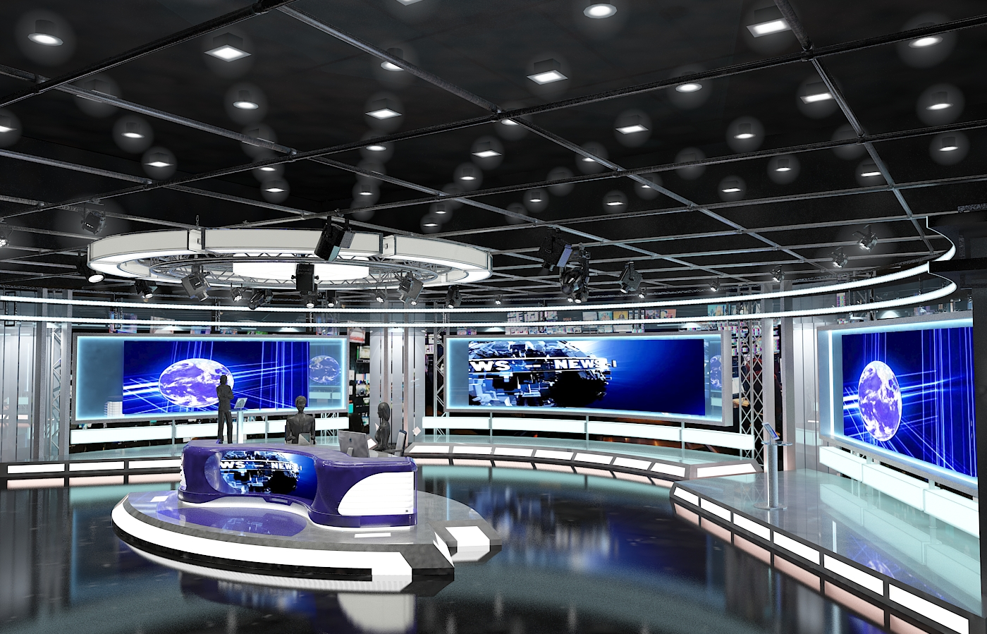 Virtual tv studio news set 1 3d model flatpyramid - Architecture shows ...