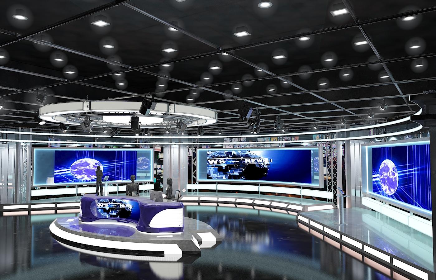 виртуал телевизийн студи мэдээ багц 1 3d загвар max dxf fbx c4d obj 223287