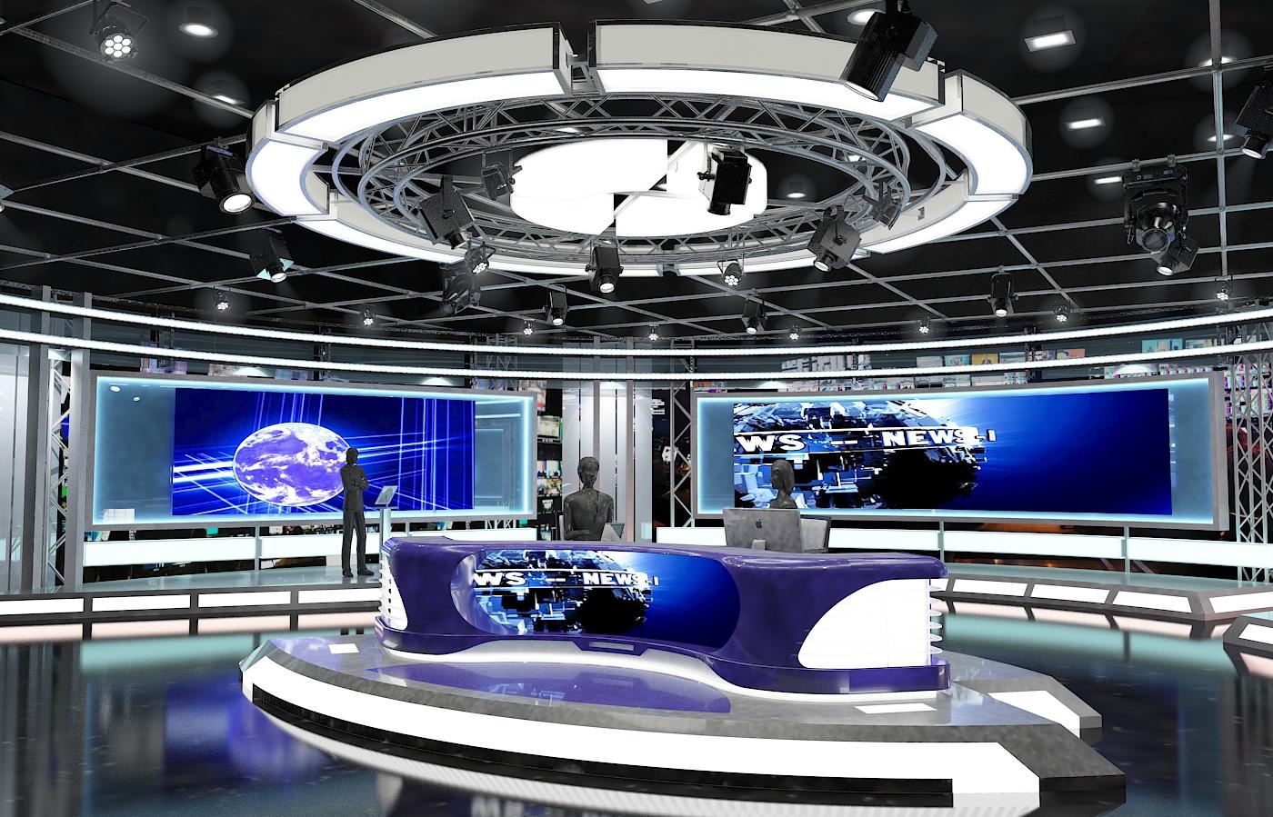 виртуал телевизийн студи мэдээ багц 1 3d загвар max dxf fbx c4d obj 223288